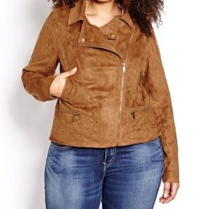 AdditionElle | Faux Suede Moto Jacket 3x